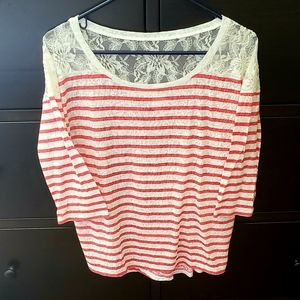 Express Red Striped Laced Top
